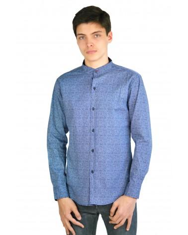 Chemise italienne bleue col rond décontractée RC