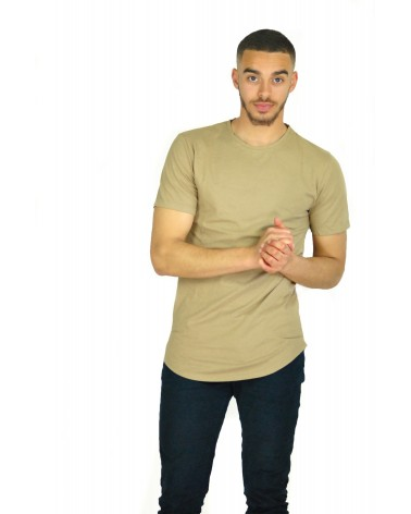 T-shirt long et simple marron Basis