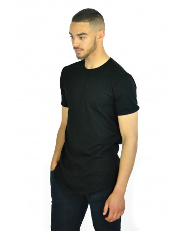 T-shirt long et simple noir Basis