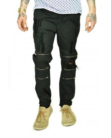 Pantalon streetwear déchiré noir à fermetures