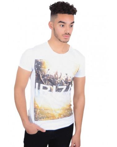 T-shirt simple blanc motif Ibiza