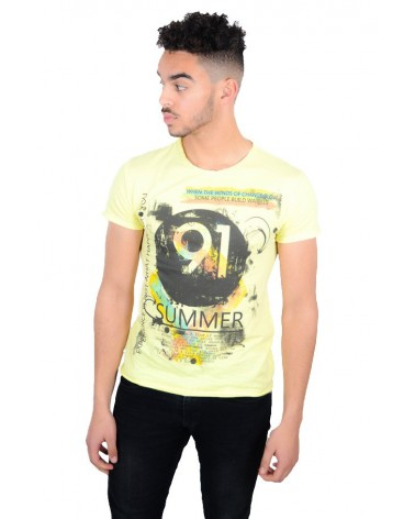 T-shirt jaune simple motif Summer