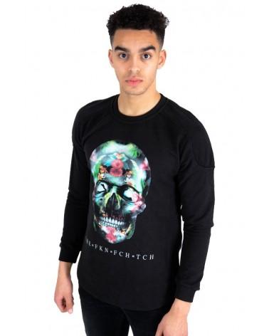Pull tête de mort motif végétal noir urban streetwear