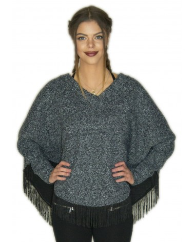 Pull Poncho bleu chaud made in France
