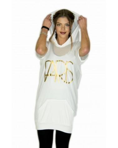 Robe à capuche streetwear blanche Paris
