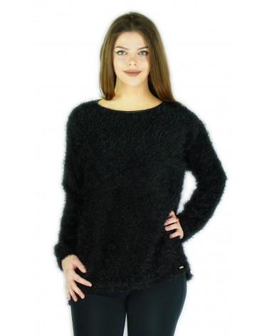 Pull blouse à poils noir
