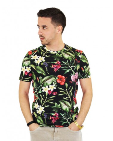 T-shirt à fleurs oversize made in Italy