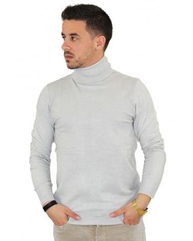 Pull gris col roulé fashion fabriqué en Italie