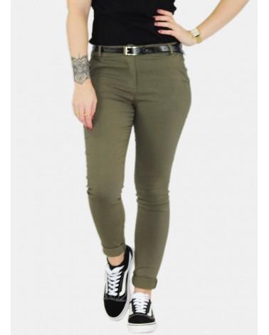 Pantalon kaki basique élastique (petite ceinture incluse)