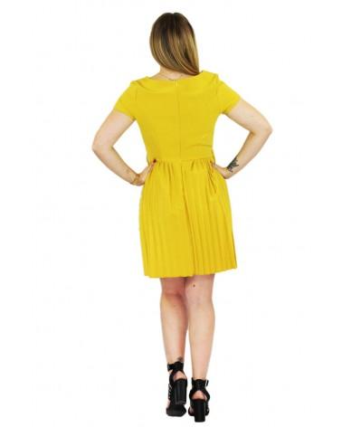 Robe volante plisée jaune made in Italy