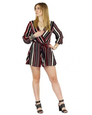 Combishort fashion à lignes rouges & noir