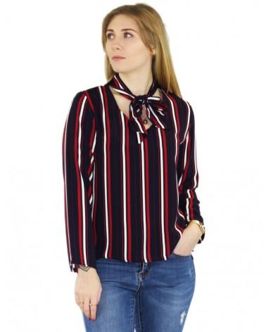 Haut à lignes noir rouge blanc made in France