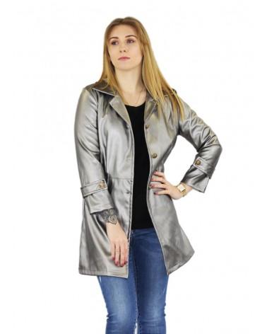 Gilet fashion similicuir gris métallisé