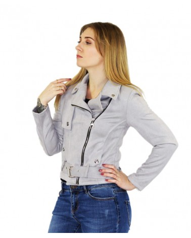 Blouson gris à ceinture made in italy
