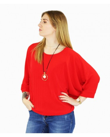 Pull fashion léger rouge manches chauve-souris made in italy