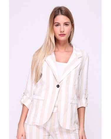 Veste en lin à lignes blanches et grises