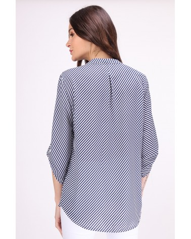 Chemise made in France à rayures blanc et bleu