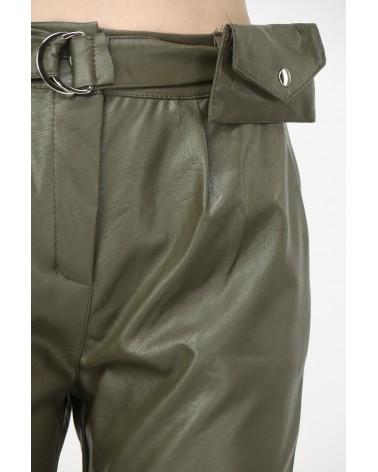 Pantalon simili-cuir kaki made in italy