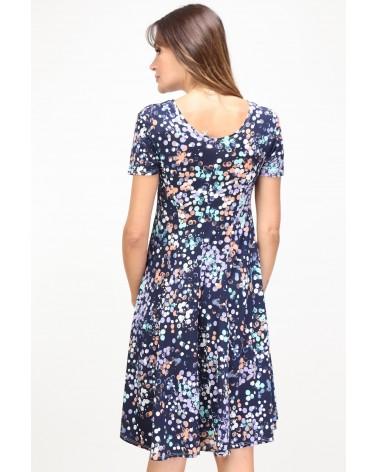Robe made in France bleu marine à motifs géométriques