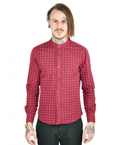 Chemise à carreaux rouge col rond Damus