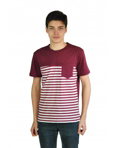 T-shirt marinière bordeaux simple