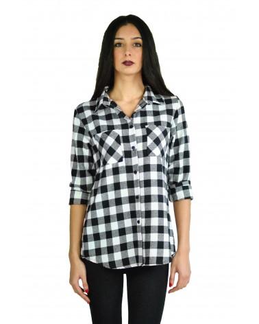 Chemise vintage à carreaux noir & blanc Metsuri en laine